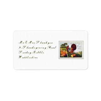 Vintage Turkey Thanksgiving Address Label