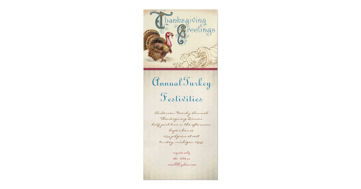 Vintage Thanksgiving Invitations & Announcements | Zazzle