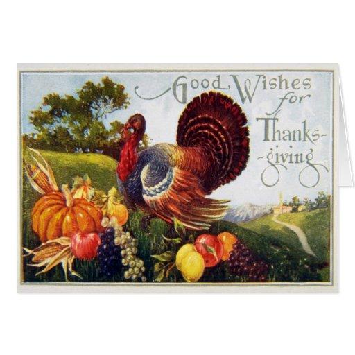 Vintage Turkey Thanksgiving Greeting Card
