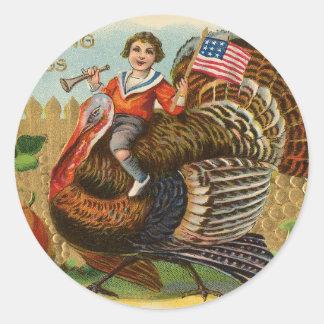 Vintage Turkey Thanksgiving Greetings Classic Round Sticker