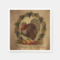Vintage Turkey Thanksgiving Greetings Napkin
