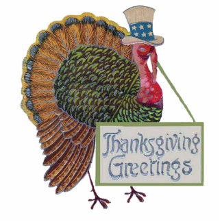 Vintage Turkey Thanksgiving Greetings Ornament Photo Sculpture