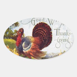 Vintage Turkey Thanksgiving Oval Sticker