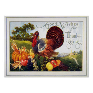 Vintage Turkey Thanksgiving Poster