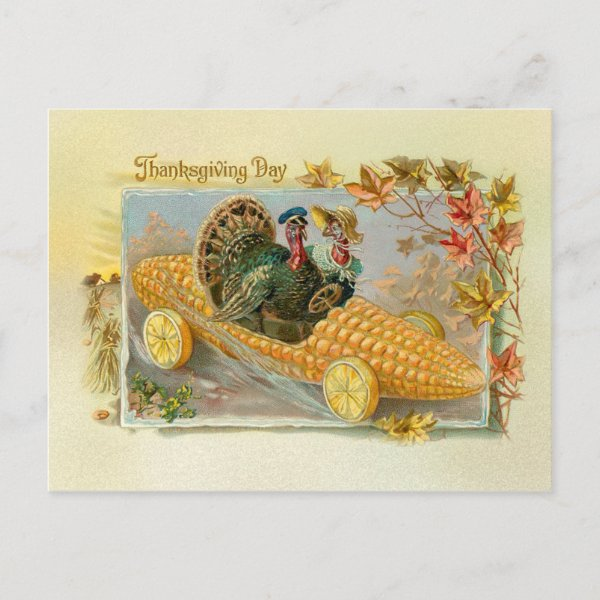 Vintage Turkeys in Corn Cob Car Holiday Postcard