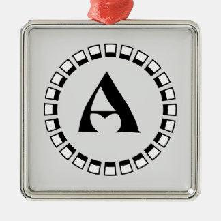 Vintage turn of the century, monogram A Metal Ornament