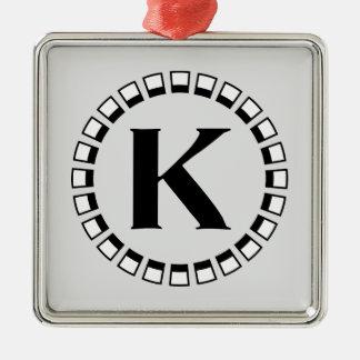 Vintage turn of the century, monogram K Metal Ornament
