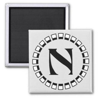 Vintage turn of the century, monogram N 2 Inch Square Magnet
