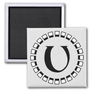 Vintage turn of the century, monogram U 2 Inch Square Magnet