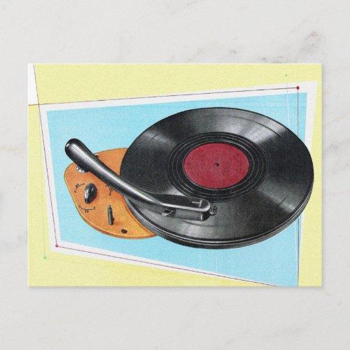 Vintage Turntable Phonograph Record Player Postcard