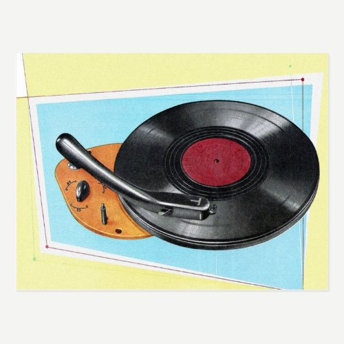 Vintage Turntable Phonograph Record Player Postcard
