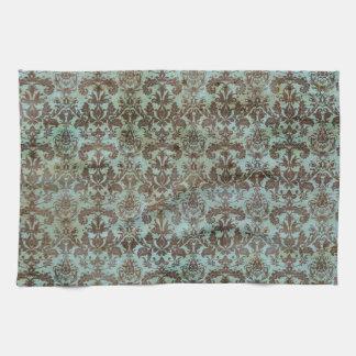 Vintage Turquoise Blue Brown Damask Pattern Hand Towels