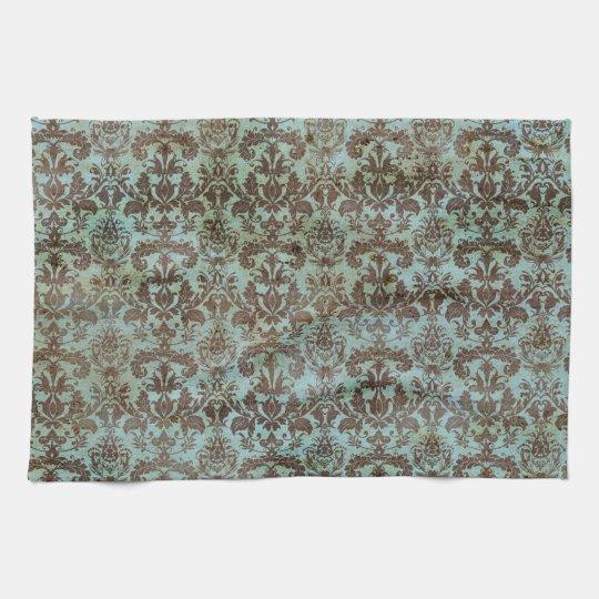 Turquoise Kitchen Towels: Vintage Turquoise Blue Brown Damask Pattern Kitchen Towel