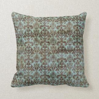 Vintage Turquoise Blue Brown Damask Pattern Throw Pillow