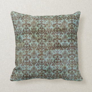 Vintage Turquoise Blue Brown Damask Pattern Throw Pillow