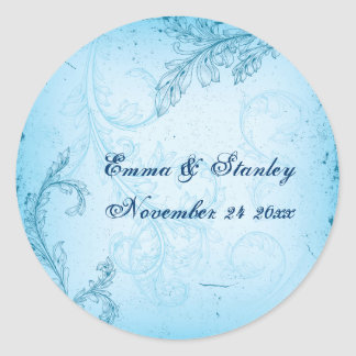 Vintage turquoise blue scroll leaf wedding classic round sticker