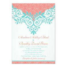 "Vintage Turquoise Coral Lace Wedding Invitation 5"" X 7"" Invitation Card at Zazzle"