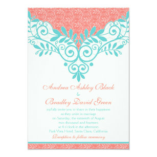 Coral And Turquoise Wedding Invitations Announcements Zazzle