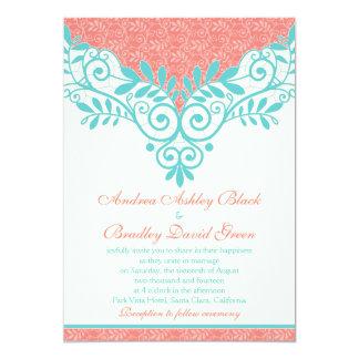 Vintage Turquoise Coral Lace Wedding Invitation