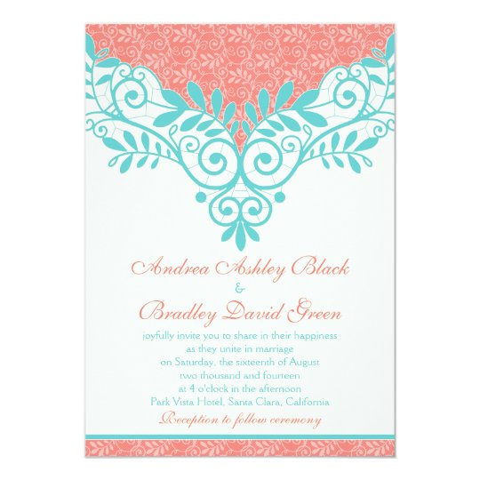 Vintage Turquoise Coral Lace Wedding Invitation Zazzle Com