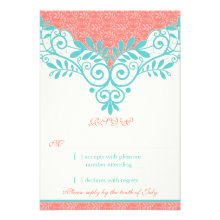 Vintage Turquoise Coral Lace Wedding RSVP Reply Announcements