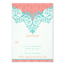 "Vintage Turquoise Coral Lace Wedding RSVP Reply 3.5"" X 5"" Invitation Card"