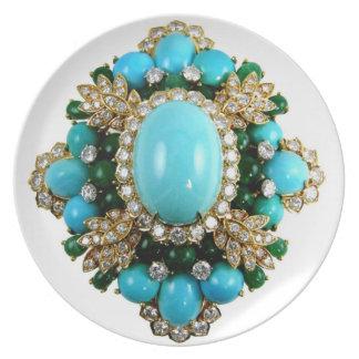 Vintage Turquoise Costume Jewelry Plastic Picnic Melamine Plate