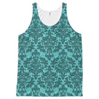Vintage Turquoise Damask All-Over Print Tank Top