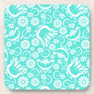 Vintage turquoise floral Cork Coaster