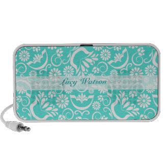 Vintage turquoise floral Doodle speakers