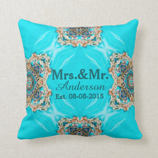 vintage turquoise pattern bohemian mr and mrs throw pillow