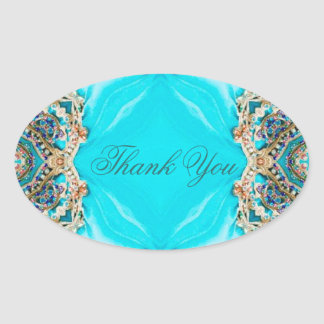 vintage turquoise pattern bohemian thank you oval sticker