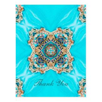 vintage turquoise pattern bohemian thank you postcard