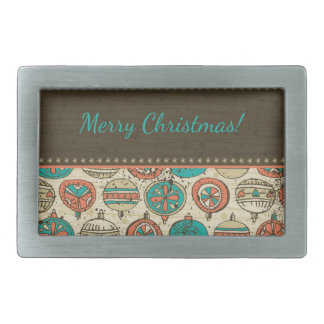 Vintage Turquoise Red Beige Christmas Hanging Ball Rectangular Belt Buckle