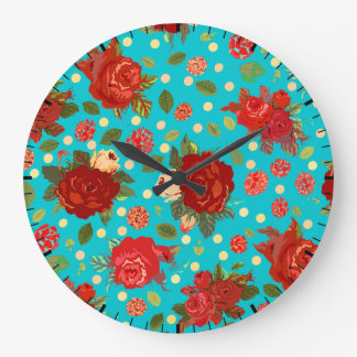 Vintage Turquoise Red Rose Pattern Wall Clock