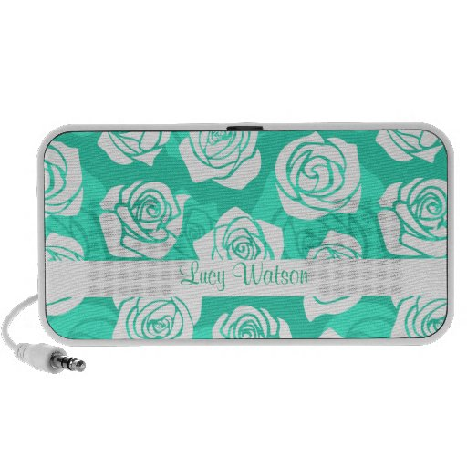 Vintage turquoise roses Doodle speakers