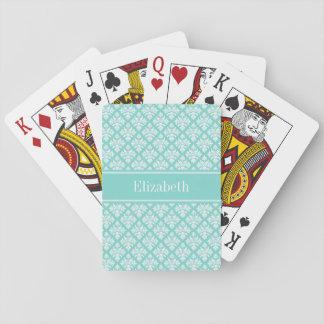 Vintage Turquoise Wht Damask #3 Turq Name Monogram Playing Cards