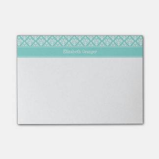 Vintage Turquoise Wht Damask #3 Turq Name Monogram Post-it Notes