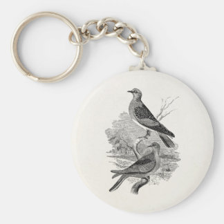 Vintage Turtle Doves Bird Personalized Dove Birds Keychain