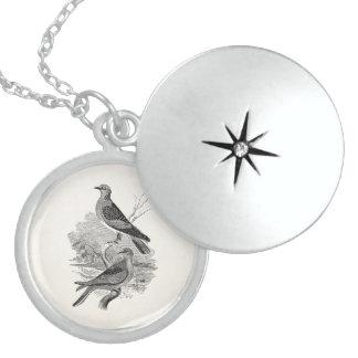 Vintage Turtle Doves Bird Personalized Dove Birds Locket Necklace