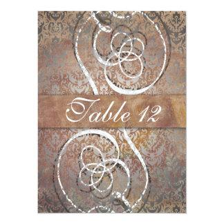 Vintage Tuscan Damask Elegant Table Number Cards 14 Cm X 19 Cm Invitation Card