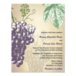 "Vintage Tuscan Winery Vineyard Wedding Invitations 4.25"" X 5.5"" Invitation Card"
