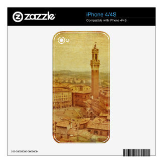 Vintage Tuscany, medieval Siena Skin For iPhone 4