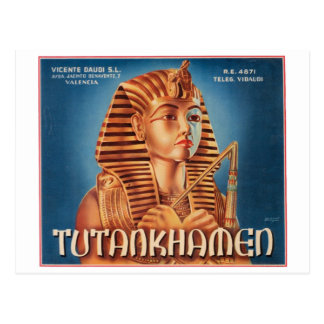 Vintage Tutankhamen Fruit Crate Label Postcard