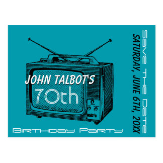 Vintage TV 70th Birthday Save the Date Postcard