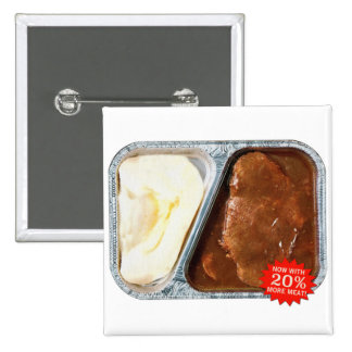 Vintage TV Dinner Salisbury Steak Now More Meat 2 Inch Square Button