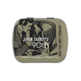 Vintage TV repairer 60th Birthday Party Candy Tin