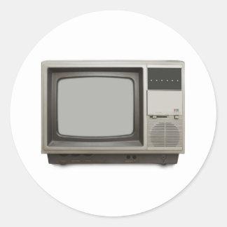 vintage tv set classic round sticker