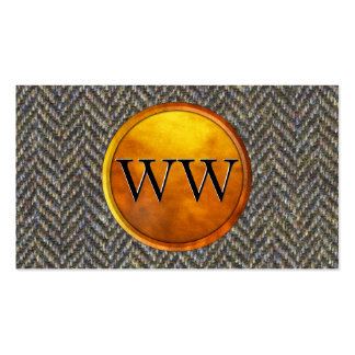 Vintage Tweed, Brass and Gold Monogram Double-Sided Standard Business Cards (Pack Of 100)