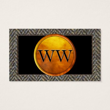 Professional Business Vintage Tweed, Brass, Black and Gold Monogram Business Card